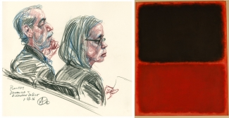 Left: Eleanore and Domenico De Sole at the Trial. Image: Courtesy of Victor Juhasz. Right: The fake Mark Rothko