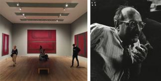 Left: Mark Rothko's Seagram Murals at Tate Modern. Image: via Instagram. Right: Mark Rothko. Image: via Wikimedia Commons