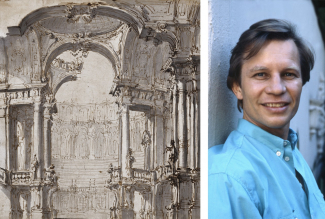 Left: From the Private Collection of Pat and Michael York, attributed to Giuseppe Galli Bibiena, Parma 1696 - 1756 Berlin. Right: Michael York. Image: via Wikimedia Commons