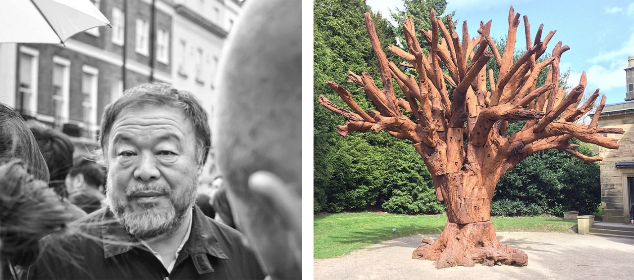 Left: Ai Weiwei. Image: © glynnislui. Right: Iron Tree. Image: via Wikimedia Commons