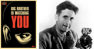 Left; Shepard Fairey, Big Brother Is Watching You, 2006. Right: George Orwell, at the BBC. Image: via Wikimedia Commons
