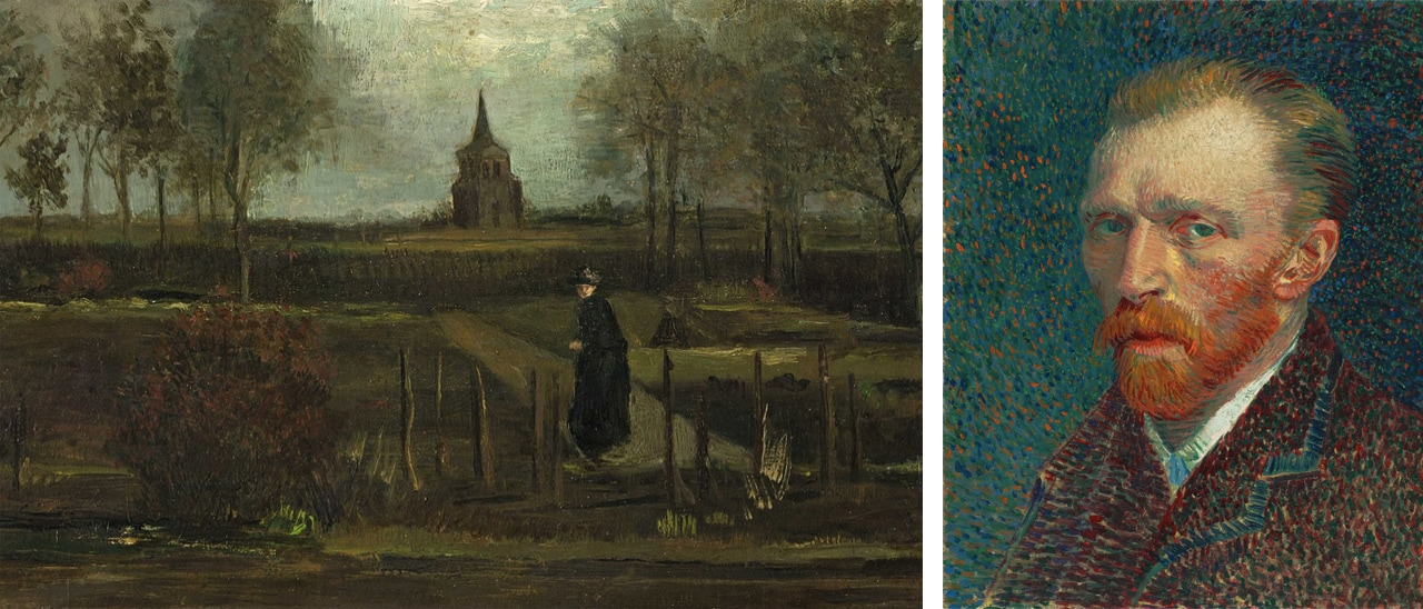 On the left, Vincent van Gogh's The Parsonage Garden at Nuenen in Spring, 1884 stolen last week and on the right, Self-Portrait, Spring 1887.