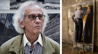 Left: Christo. Image: via YouTube. Right: Christo at work. Image: © Wolfgang Volz