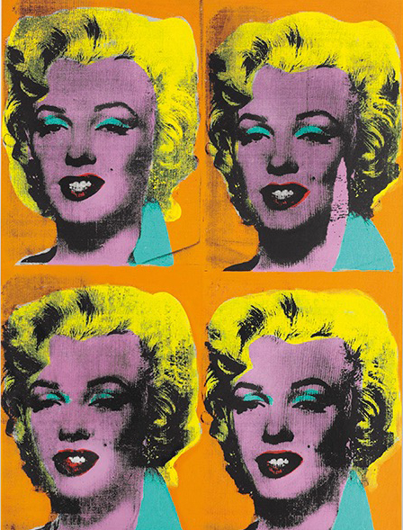 Andy Warhol, Four-Marilyns, 1961, Acrylic, silkscreen ink and graphite on canvas. © Christie's Images Ltd 2015
