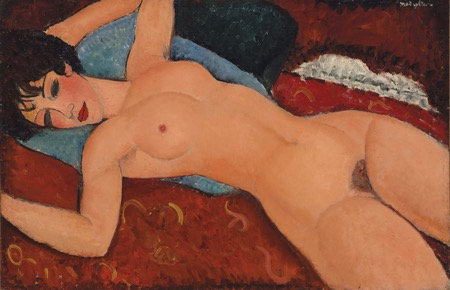 Amedeo Modigliani, Reclining Nude, 1917, Oil on canvas. Courtesy: Christie's, New York