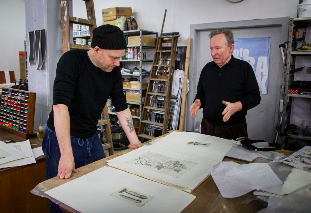 Niels Borch Jensen and the artist Tal R in Niels Borch Jensen's print shop in Copenhagen. © Birgitte Rubaek