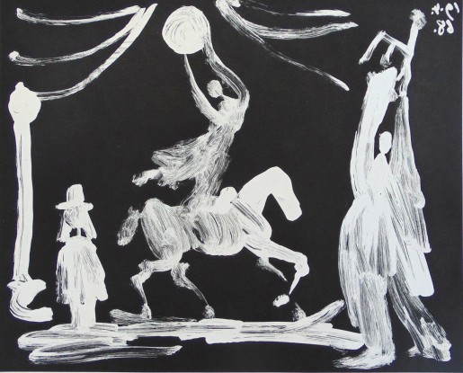 Pablo Picasso, The Circus: Horsewoman, Clown and Pierrot, from the Suite 347, 1968