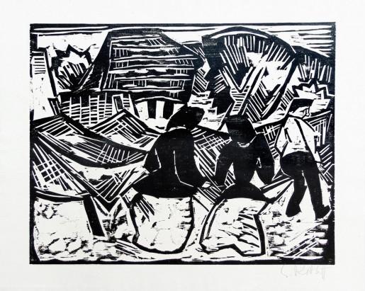 Karl Schmidt-Rottluff, By the Nets | Bei den Netzen, 1917