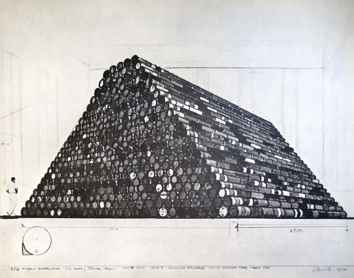Christo, Monuments, 4716 Oil Drums, 1968