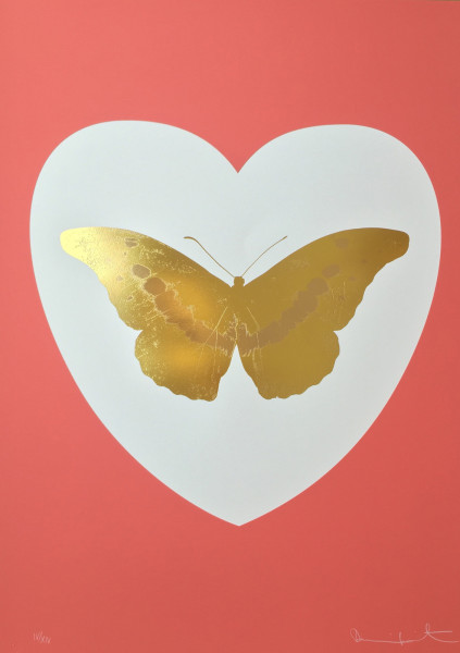 Damien Hirst, I Love You - White/Coral/Oriental Gold/Cool Gold, 2015
