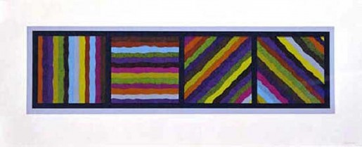 Sol LeWitt, Bands Not Straight in Four Directions (multicoloured), 1999