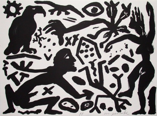 A.R. Penck, The Situation Now, Black and White, 1992