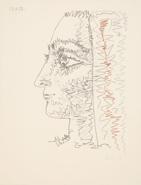 Pablo Picasso, Profil en trois couleurs, 1956