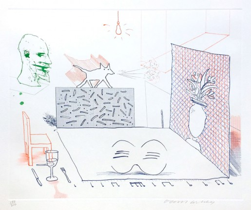 """David Hockney, Discord Merely Magnifies (from """"The Blue Guitar"""" portfolio), 1976-77"""