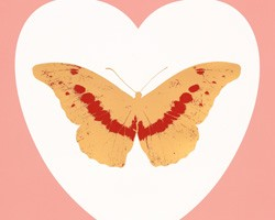 I Love You - white, pink, cool gold, poppy red by Damien Hirst