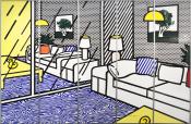 Wallpaper with Blue Floor Interior