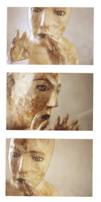Calling 1, triptych   by Kiki Smith