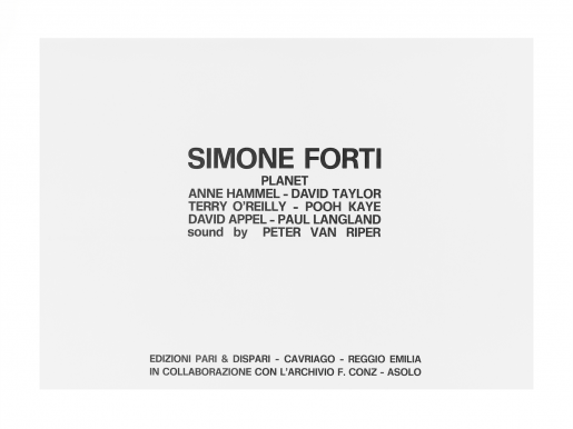 Simone Forti, Planet, 1976