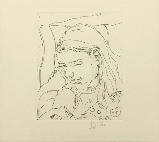 Barry Flanagan, Annabelle asleep on train, 2008