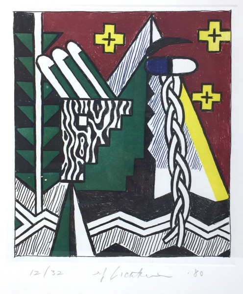 Roy Lichtenstein, Two Figures With Teepee, 1980