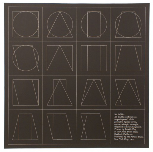 Sol LeWitt, All double combinations (superimposed) of six geometric figures (circle, square,triangle, rectangle, trapezoid and parallelogram) (b), 1977
