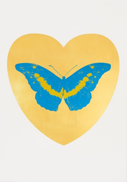 Damien Hirst, I Love You - gold leaf, turquoise, oriental gold, 2015