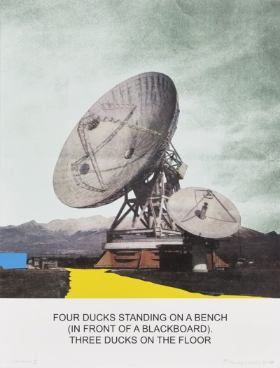 The News: Four Ducks Standing on a Bench by John Baldessari