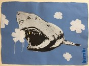 Gold Tooth Shark with White on Blue Flower Power
