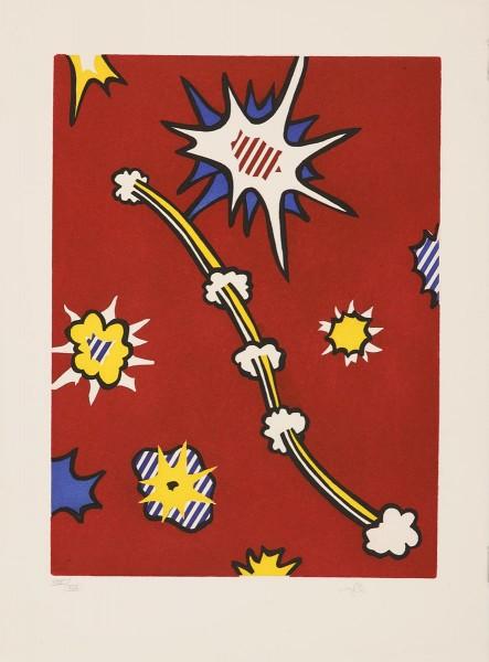 """Roy Lichtenstein, Illustration for """"De Denver au Montana, Départ 27 Mai 1972 (II)"""" from """"La Nouvelle Chute de l'Amérique"""" (The New Fall of America), 1992"""