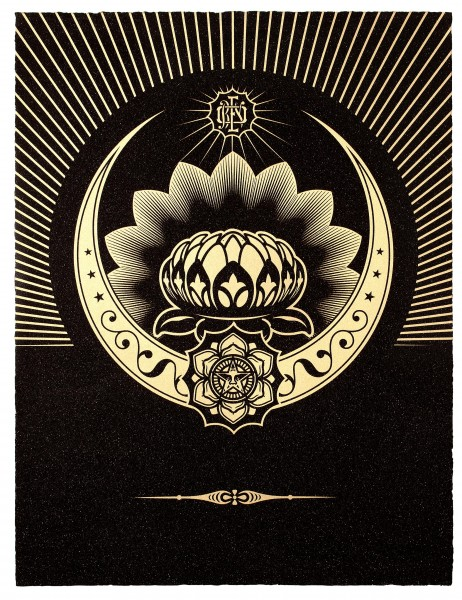 Shepard Fairey, Obey Lotus Crescent (Black & Gold), 2013