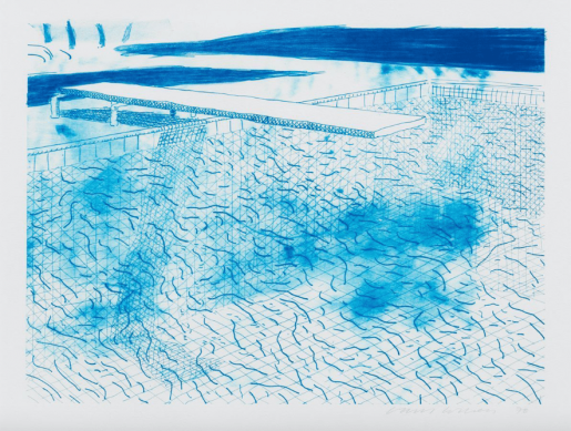 David Hockney, Lithograph of Water made of Lines, 1978