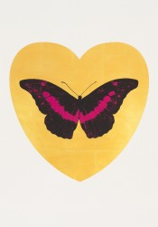 I Love You - gold leaf, black, fuchsia