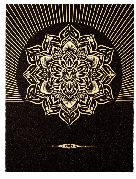 Shepard Fairey, Obey Lotus Diamond (Black & Gold), 2013