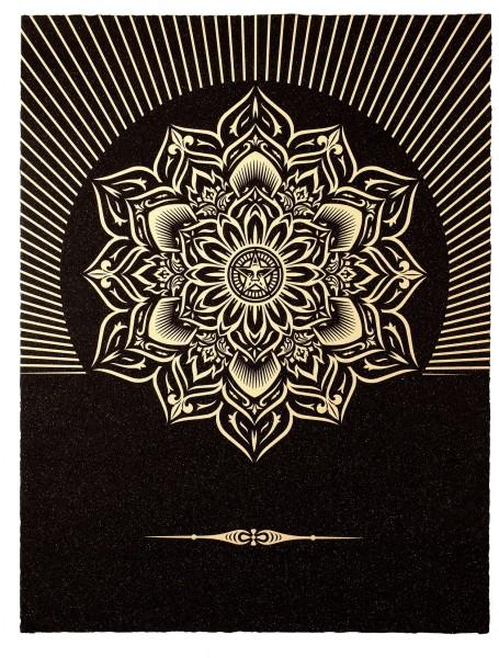 Shepard Fairey, Obey Lotus Diamond (Black & Gold), 2013