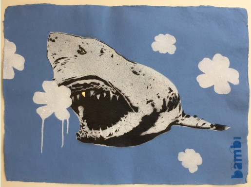 Bambi, Gold Tooth Shark with White on Blue Flower Power, 2016