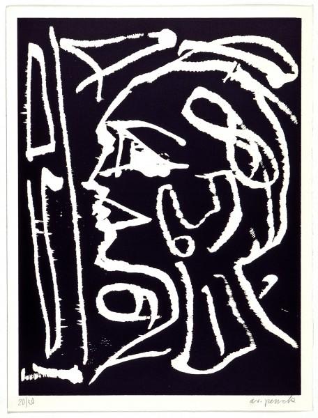 A.R. Penck, Kopf am Fenster, 1990