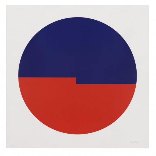 Carmen Herrera, Tondo: Azul y Rojo, 2019