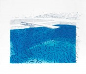 Lithograph of Water Made of Lines, Crayon, and Two Blue Washes Without Green Wash