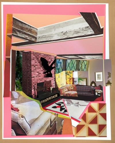 Mickalene Thomas - Interior: Fireplace with Blackbird