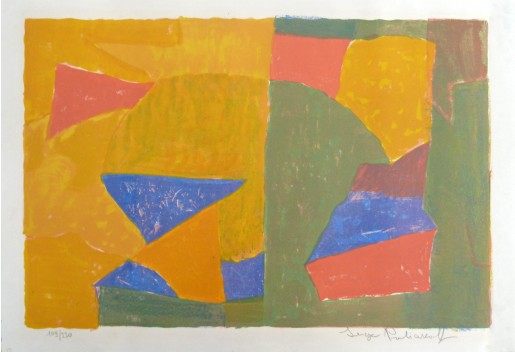 Serge Poliakoff, Composition in Yellow, Green, Blue, and Red, 1956