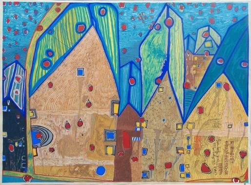 Friedensreich Hundertwasser, Häuser im Blutregen (Houses in Rain of Blood), 1961