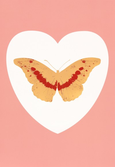 Damien Hirst, I Love You - white, pink, cool gold, poppy red, 2015
