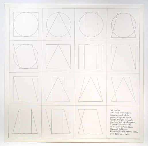 Sol LeWitt, All double combinations (superimposed) of six geometric figures (circle, square,triangle, rectangle, trapezoid and parallelogram) (a), 1977