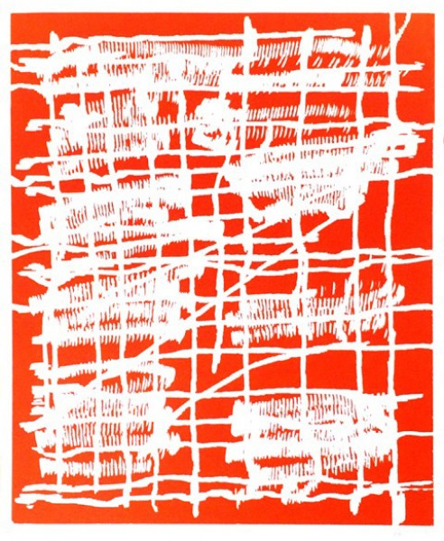 Günther Förg, Woodcut orange, 1990