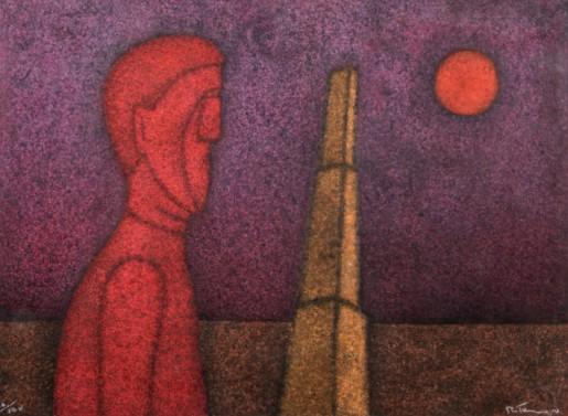 Rufino Tamayo, Figura en Rojo, 1989