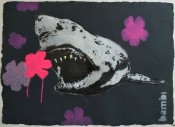 Gold Tooth Shark with Pink and Purple Flower Power