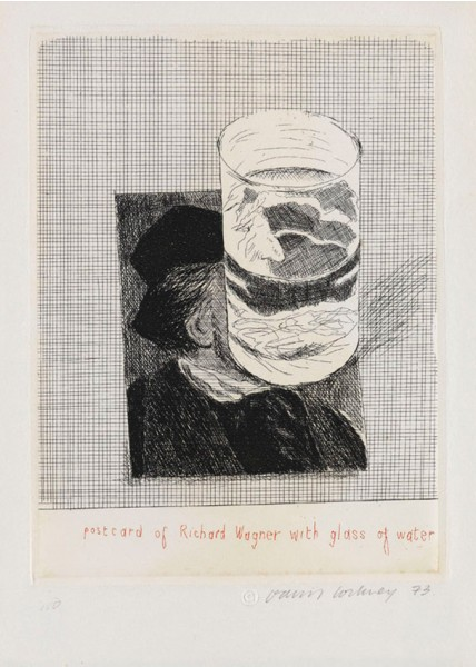"David Hockney, Postcard of Richard Wagner with a Glass of Water (from ""Eighteen Small Prints""), 1973"