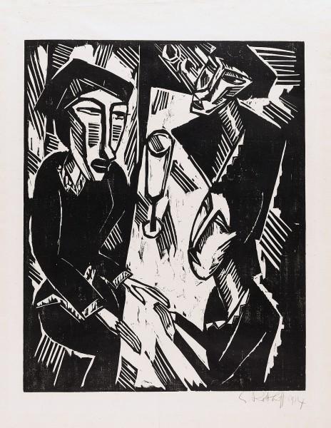 Karl Schmidt-Rottluff, Drei am Tisch, 1914