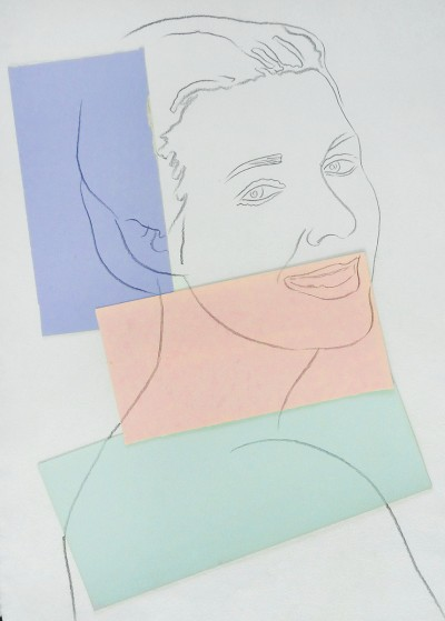 Andy Warhol, Presumed Portrait of Antoine Grunn (Female Portrait) with blue, pink and green, 1982
