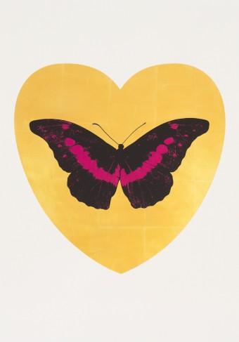 I Love You - gold leaf, black, fuchsia